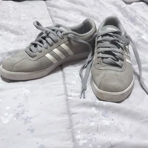 Space grey adidas tennis shoes